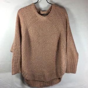 Lou Grey Fuzzy Texture Crew Neck Sweater